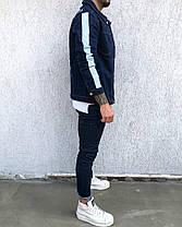 Пиджак стильный мужской джинсовый бело-синий, фото 3