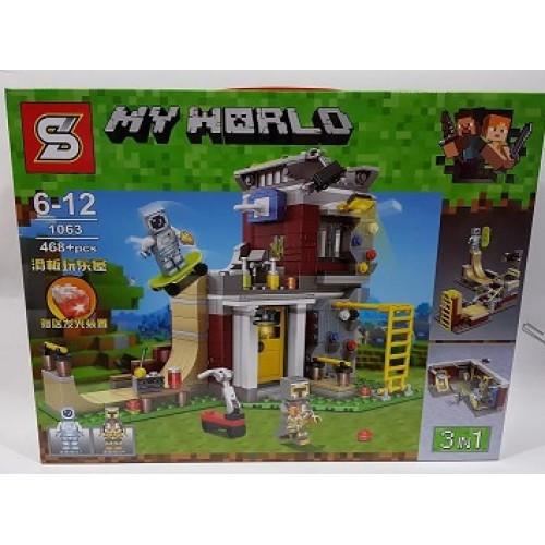 "Конструктор Майнкрфт ""Скейтпарк 3в1"" My World SY1063 (аналог Lego Minecraft, лего майнкрафт) 468 дет"