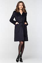 """Стильное женское пальто из длинноворсовой шерсти """"П-33"""" - темно-синее"""