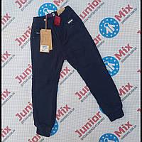 Детские котоновые  теплые брюки на манжете для мальчиков синего цвета оптом GRACE