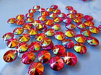 Стразы пришивные Риволи (круг) Red/Orange AB, 10 мм, акрил