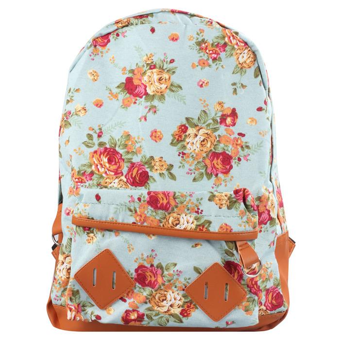 Рюкзак сумка в цветочках розы городская голубого цвета 002