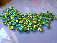 Стразы пришивные Риволи (круг) Green / Peridot AB, 10 мм, акрил