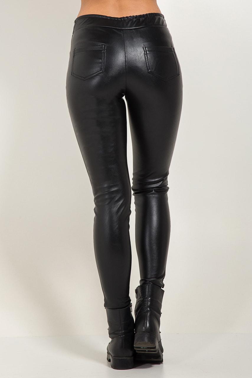3873d716718be Женские утепленные лосины из экокожи черного цвета. Модель 3238. Размеры  42,46,