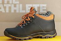 Ботинки спортивные полуботинки зимние кожа      мужские черные (Код: М159а)