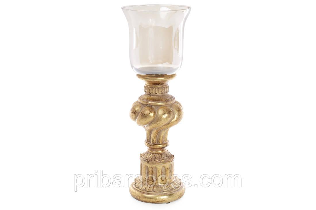 Подсвечник 33.8см со стеклянной колбой, цвет - золото антик