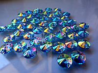 Стразы пришивные Риволи (круг) Light Blue AB, 10 мм, акрил