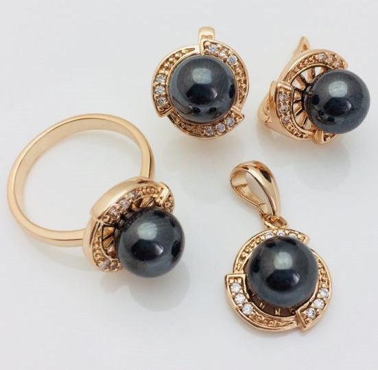 Ювелирная бижутерия. Набор Черный жемчуг серьги+ кольцо+ кулон кольца 20