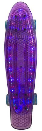 Скейт Пенни борд Penny Board Пенні Борд Светиться весь LED 22 Purple - Фиолетовый 54 см пенни борд, фото 2