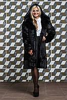 Шуба из эко меха 120 черная, фото 1