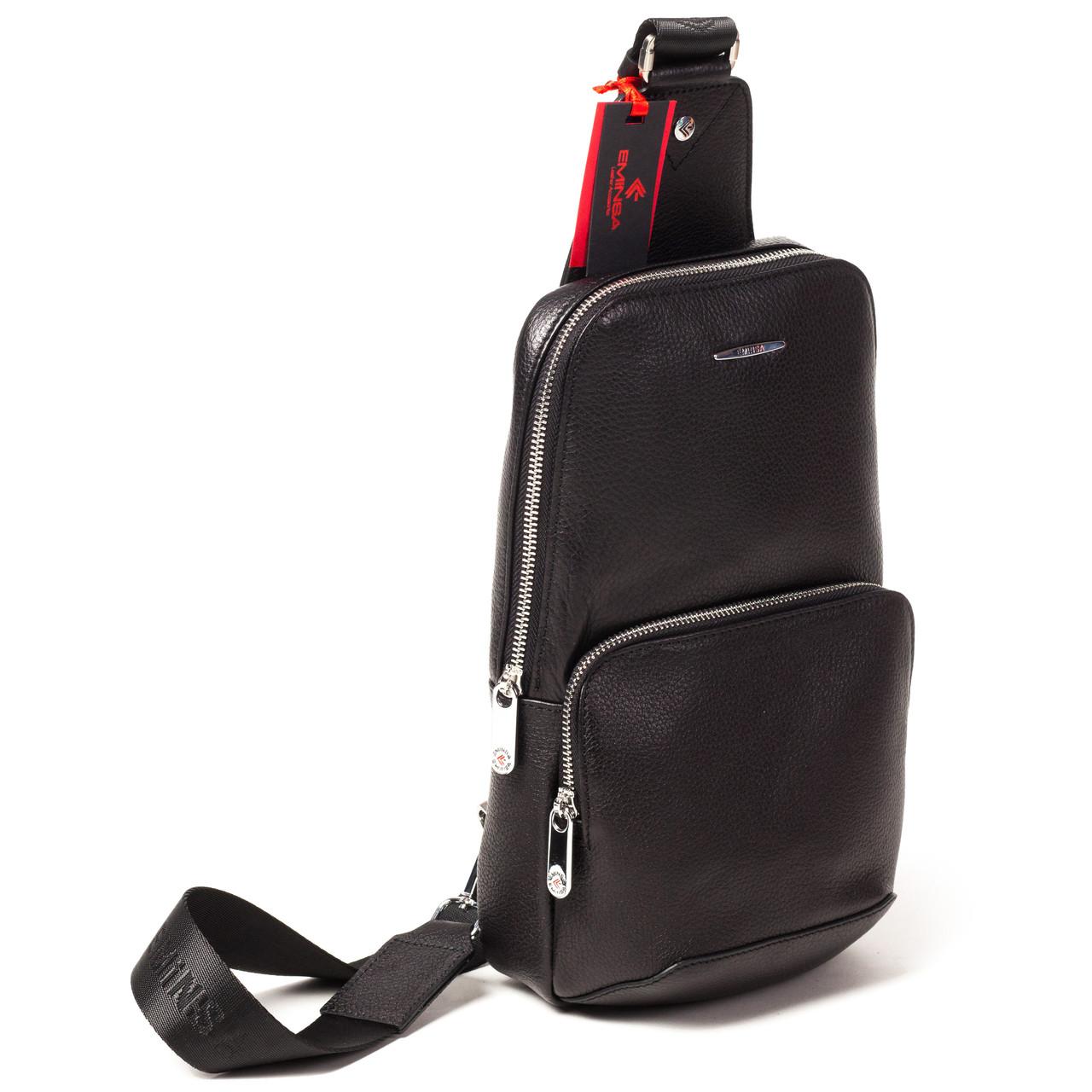 Мужской городской рюкзак Eminsa 40101 17-1 из натуральной кожи черный