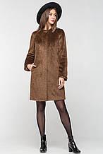 """Современное женское пальто """"П-2"""" из длинноворсовой шерсти - коричневое"""