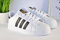 Кроссовки женские Adidas Superstar White-Black  | Адидас Суперстар женские белые Вьетнам ААА реплика, фото 1