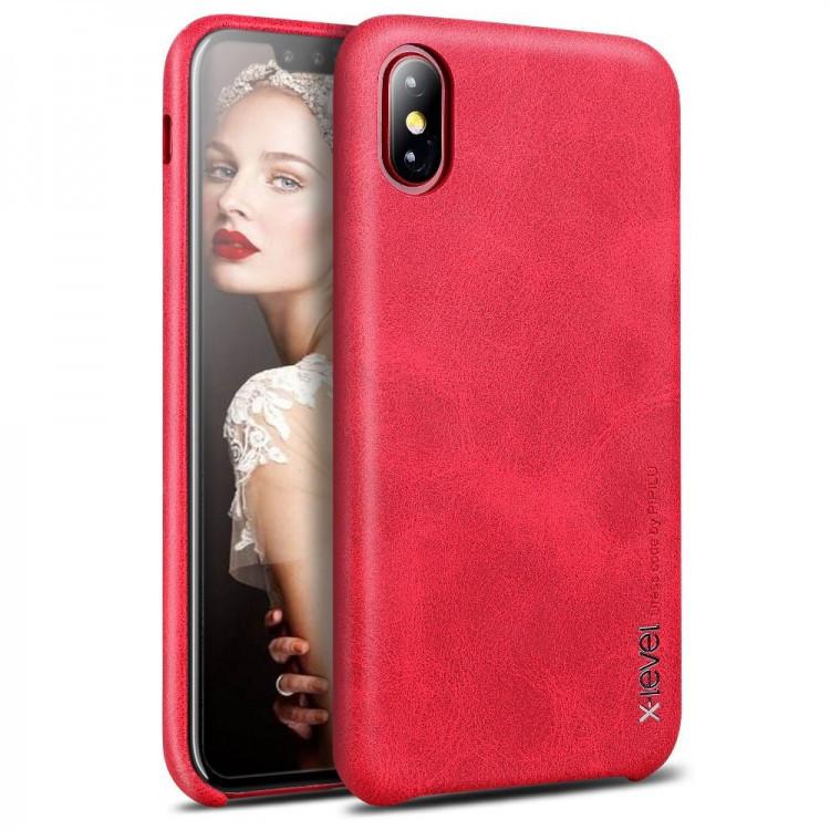 Чехол-накладка для Apple iPhone X X-Level PU Vintage Красная (PC-001163)