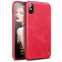 Чехол-накладка для Apple iPhone X X-Level PU Vintage Красная (PC-001163), фото 1