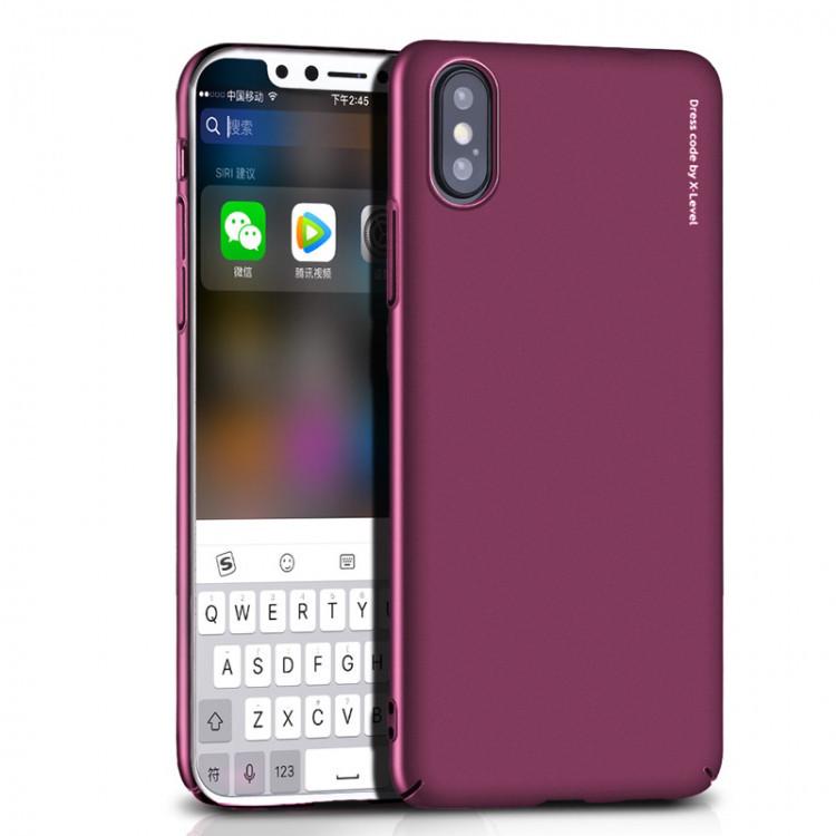 Чехол-накладка для Apple iPhone X X-Level PC KNIGHT Темно-розовая (PC-001187)