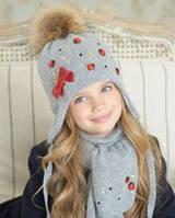 Модный комплект для девочки : зимняя шапка, шарф и теплые варежки. Dan&Dani (Daniil&Daniela)