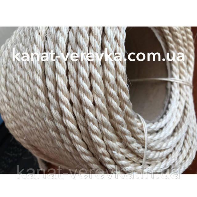 Веревка, канат сизалевый светлый 10 мм. 100 м.