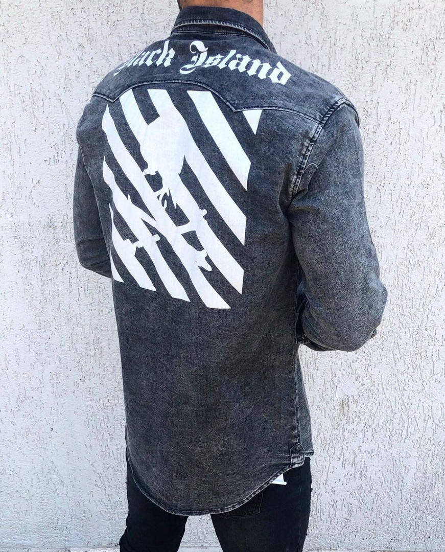 Мужская джинсовая рубашка темно-серая