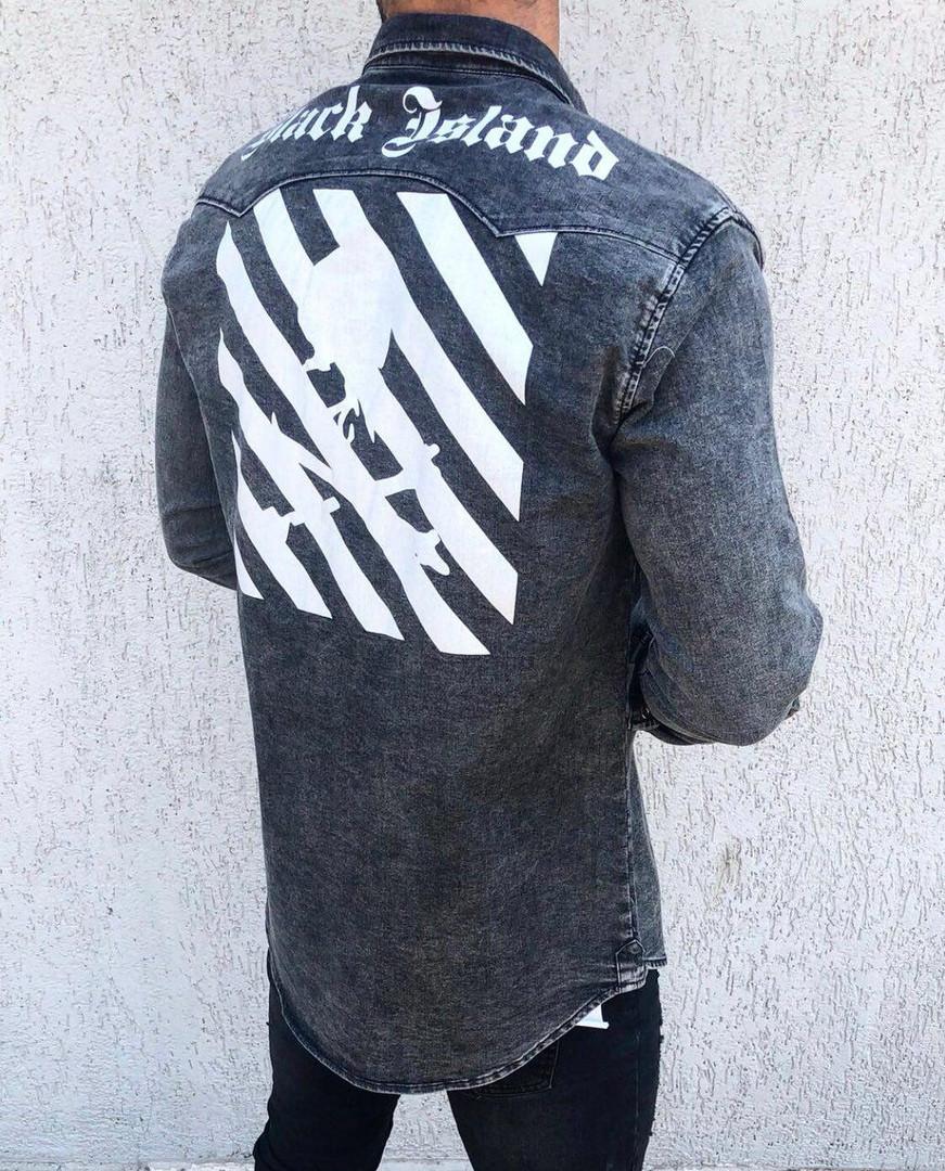 193c10b15a0 Мужская джинсовая рубашка темно-серая - Интернет-магазин обуви и одежды  KedON в Киеве
