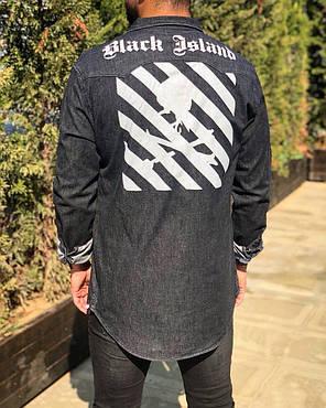 Мужская джинсовая рубашка темно-серая, фото 2