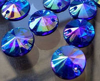 Стразы пришивные Риволи (круг) Blue / Sapphire AB, 10 мм, акрил
