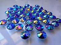 Стразы пришивные Риволи (круг) Blue / Sapphire AB, 10 мм, акрил, фото 1