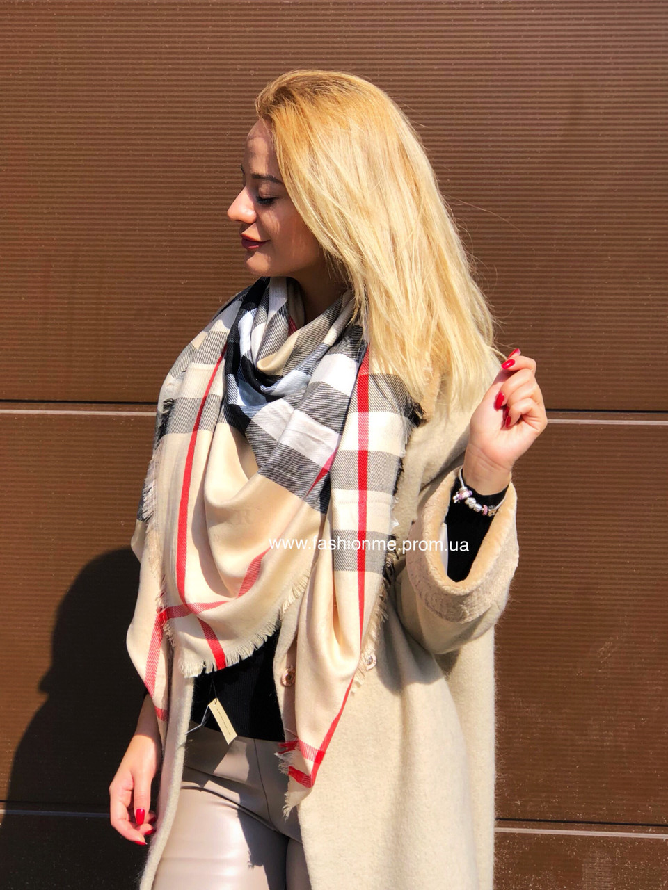 0fa326529a98 Платок кашемировый, люкс реплика Барберри шарф в клетку бежевый - Модные  вещи оптом и в