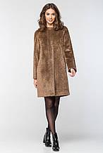 """Современное женское пальто """"П-2"""" из длинноворсовой шерсти - бежево-коричневое"""