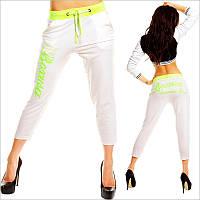 Короткие женские спортивные штаны белого цвета