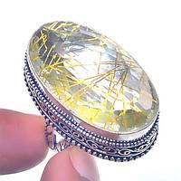 Прозрачный рутиловый кварц в серебре. Роскошное кольцо