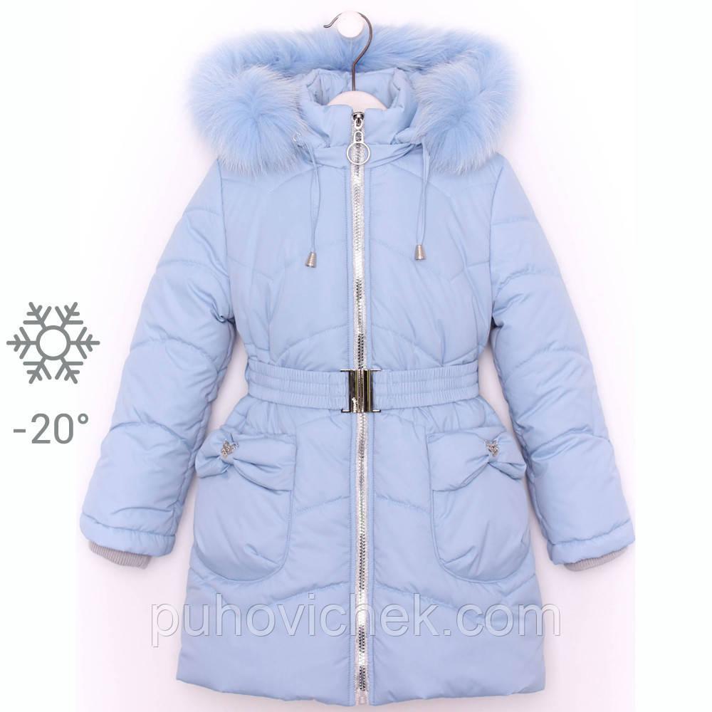 Зимняя детская куртка для девочки  натуральным мехом на капюшоне 11