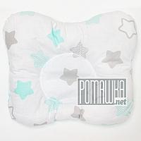 """Подушка """"Бабочка"""" 30х25 см ортопедическая для новорожденных верх 100% хлопок 4060 Салатовый 2"""