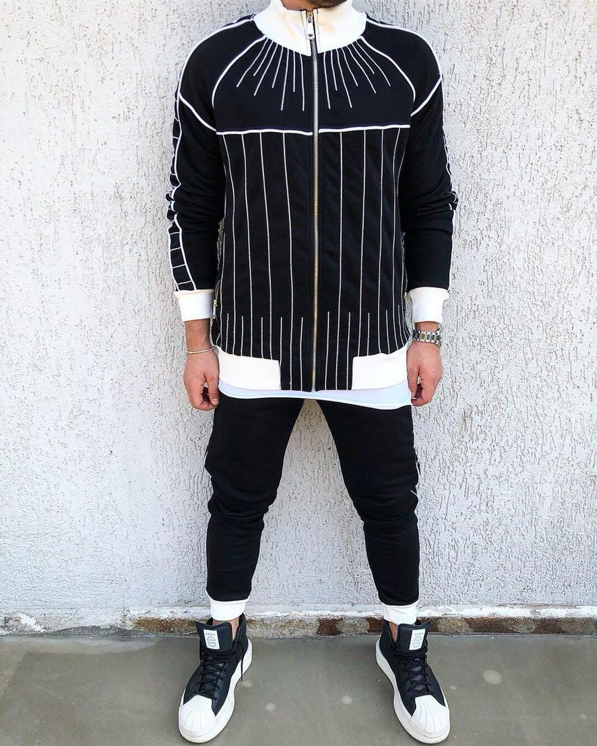 2a24ae553e8 Мужской спортивный костюм черно-белый - Интернет-магазин обуви и одежды  KedON в Киеве