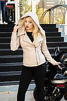 Куртка кожаная с капюшоном, цвет - бежевый, фото 1
