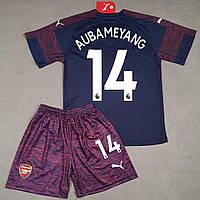 1ebcbc3a9202 Детская футбольная форма Арсенал Обамеянг (Aubameyang) 2018-2019 запасная  темно-синяя