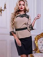 Женский юбочный костюм с ажурной вышивкой (2507 svt)