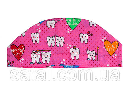 """Медицинская шапочка с рисунком """"Зубы на розовом"""" (3), фото 2"""