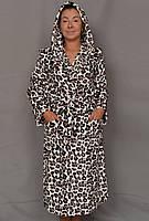 d6e6892050f7 Длинный махровый халат женский на поясе теплый домашний зимний велсофт  мягкий с капюшоном 56