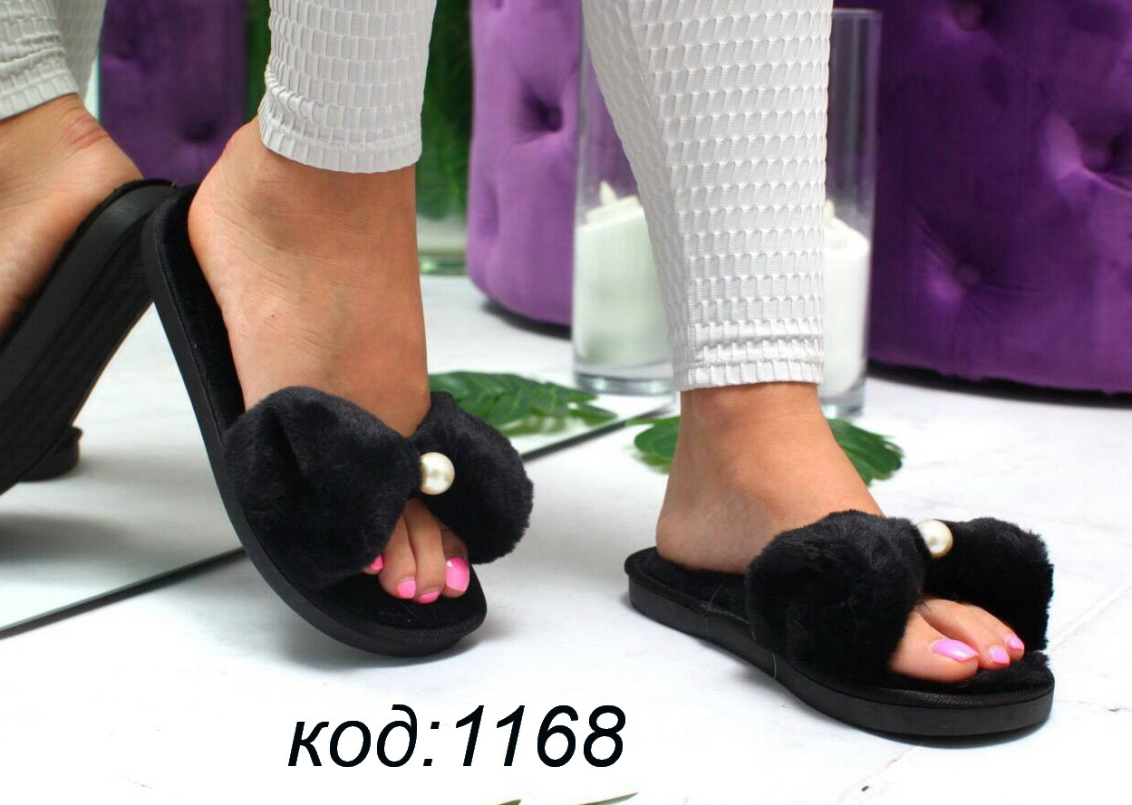 4d08b5929 Женские шлепанцы с мехом,черные - интернет-магазин обуви