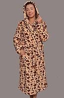f8e6dad8113d Женский махровый халат на поясе теплый домашний зимний велсофт мягкий  махровый с капюшоном Украина 46