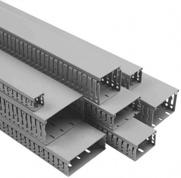 Перфорированный канал (короб)  VK 40х40 GR, с крышкой, ПВХ, Conta-Clip, (2 м) cc17802.6