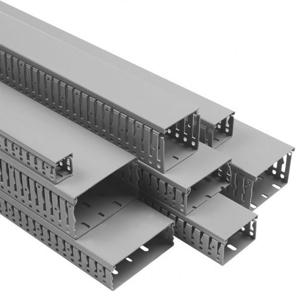 Перфорированный канал (короб)  VK 40х60 GR, с крышкой, ПВХ, Conta-Clip, (1 м) cc17805.6