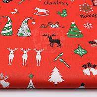 """Ткань новогодняя """"Три оленя и ёлочки"""" на красном фоне, №1558"""