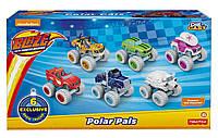 Вспыш и чудо-машинки набор 6 машинок Fisher-Price Nickelodeon Blaze & the Monster Machines, Polar Pals 6 Pack