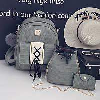 Набор 3в1 рюкзак + сумочка и визитница хаки экокожа