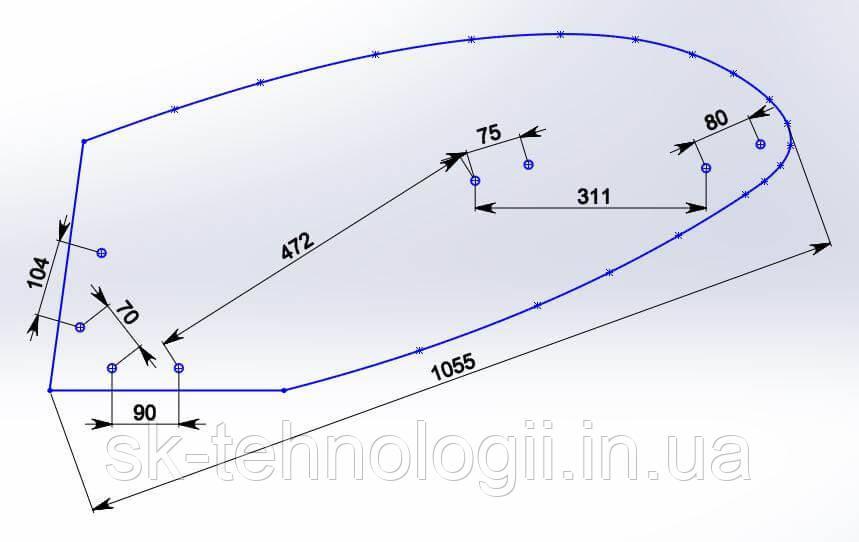 Отвал композитный Текрон для установки на плуги Kverneland 073290