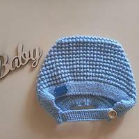 Чепчик для новонародженої дівчинки голубой
