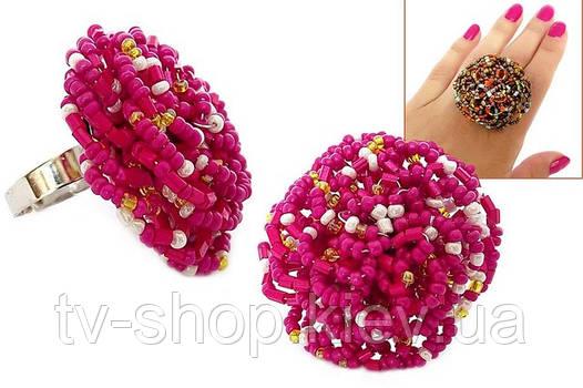 Кольцо Бисер малиновый цветок