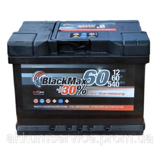 Аккумулятор автомобильный Black Max 60AH R+ 550A